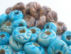 Turquoise and brown ceramic beads - Ceramics By Orly  - 5