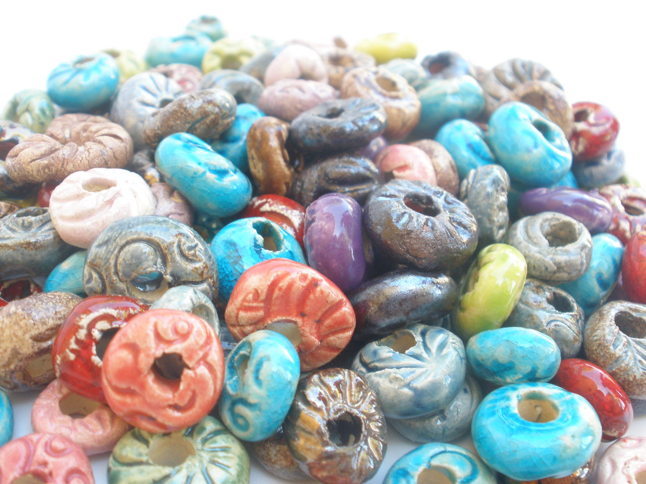 Turquoise and brown ceramic beads - Ceramics By Orly  - 1