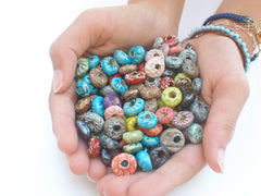 Turquoise and brown ceramic beads - Ceramics By Orly  - 2