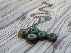OOAK turquoise and brown ceramic jewelry - Ceramics By Orly  - 4