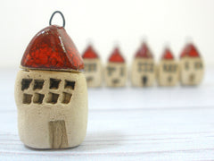 Miniature house pendant in a color of your choice - Ceramics By Orly  - 2