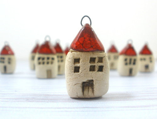 Miniature house pendant in a color of your choice - Ceramics By Orly  - 1