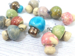 Miniature mushroom charm in a color of your choice - Ceramics By Orly  - 5