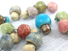 Miniature mushroom charm in a color of your choice - Ceramics By Orly  - 4