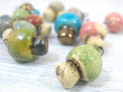 Miniature mushroom charm in a color of your choice - Ceramics By Orly  - 2