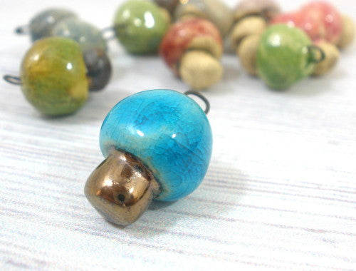 Miniature mushroom charm in a color of your choice - Ceramics By Orly  - 1