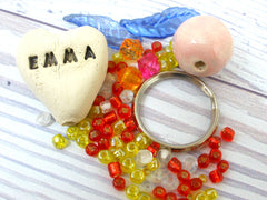 DIY Personalized heart beaded doll kit - Ceramics By Orly  - 5