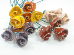 One of a kind set of 9 Colorful ceramic flowers - Ceramics By Orly  - 2