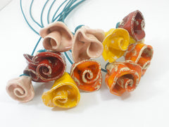 One of a kind set of 9 Colorful ceramic flowers - Ceramics By Orly  - 3