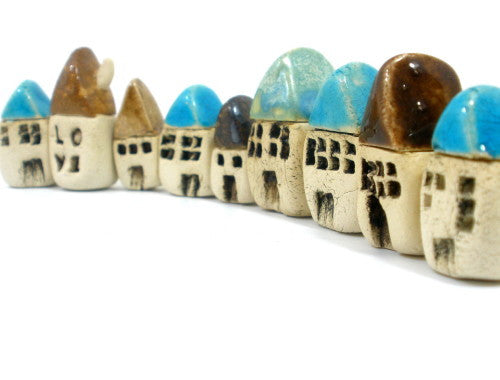 A set of 3 miniature houses - Ceramics By Orly  - 1