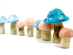 Ceramic pastel colors miniature mushrooms in variety of sizes and shapes - Ceramics By Orly  - 3