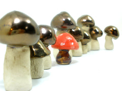 Ceramic golden brown miniature mushrooms in variety of sizes and shapes - Ceramics By Orly  - 2