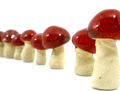 Ceramic red miniature mushrooms in variety of sizes and shapes - Ceramics By Orly  - 2