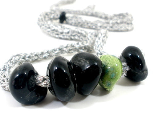 Adjustable crocheted silver black and green necklace