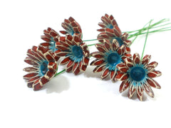 Red and turquoise ceramic flowers - Ceramics By Orly  - 5
