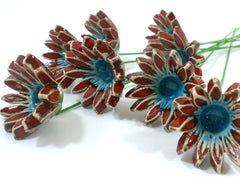 Red and turquoise ceramic flowers - Ceramics By Orly  - 4