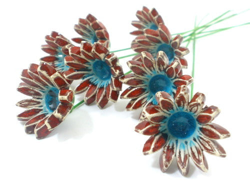 Red and turquoise ceramic flowers