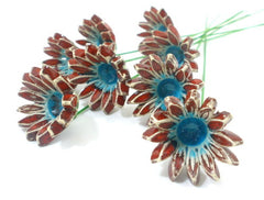 Red and turquoise ceramic flowers - Ceramics By Orly  - 1