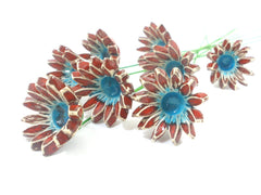 Red and turquoise ceramic flowers - Ceramics By Orly  - 3