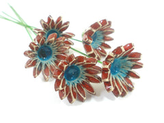 Red and turquoise ceramic flowers - Ceramics By Orly  - 2