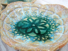 Lace ceramic bowls set in light blue, cream and green turquoise - Ceramics By Orly  - 2