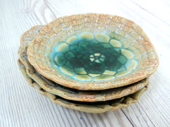 Vintage lace ceramic bowls set in light blue, cream and green turquoise - Ceramics By Orly  - 6