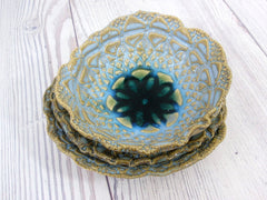Vintage lace ceramic bowls set in light blue, cream and green turquoise - Ceramics By Orly  - 5