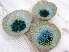 Vintage lace ceramic bowls set in light blue, cream and green turquoise - Ceramics By Orly  - 1