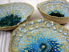 Vintage lace ceramic bowls set in light blue, cream and green turquoise - Ceramics By Orly  - 10