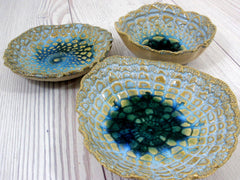 Vintage lace ceramic bowls set in light blue, cream and green turquoise - Ceramics By Orly  - 4