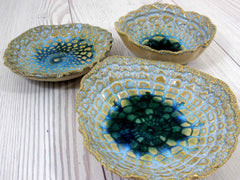 Vintage lace ceramic bowls set in light blue, cream and green turquoise - Ceramics By Orly  - 2