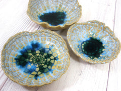 Vintage lace ceramic bowls set in light blue, cream and green turquoise - Ceramics By Orly  - 3