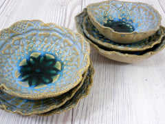 Vintage lace ceramic bowls set in light blue, cream and green turquoise - Ceramics By Orly  - 14