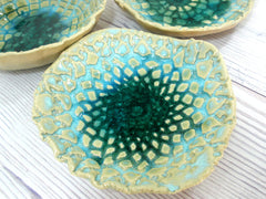 Lace ceramic bowls set in light blue, cream and green turquoise - Ceramics By Orly  - 4