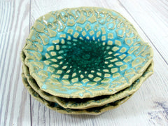 Lace ceramic bowls set in light blue, cream and green turquoise - Ceramics By Orly  - 5