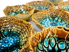 Ceramic bowls set (of 3) with vintage lace pattern in brown and turquoise - Ceramics By Orly  - 2