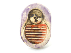Matryoshka Babushka ring - Ceramics By Orly  - 1