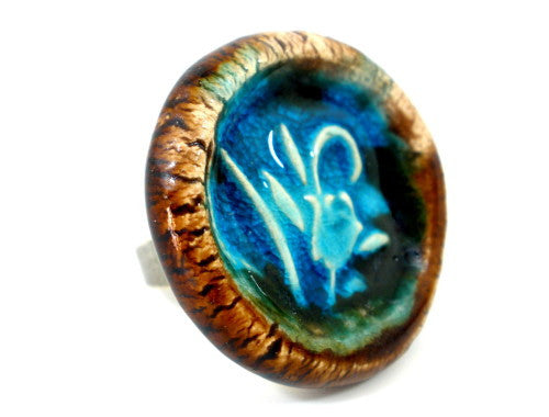 Aqua flower ceramic ring