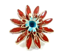Red and turquoise ceramic flower ring - Ceramics By Orly  - 4