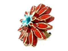 Red and turquoise ceramic flower ring - Ceramics By Orly  - 3