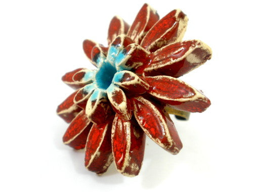 Red and turquoise ceramic flower ring