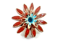 Red and turquoise ceramic flower ring - Ceramics By Orly  - 2