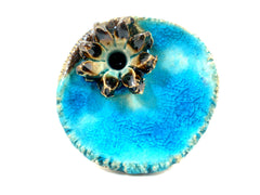 Aqua ceramic ring with golden brown flower - Ceramics By Orly  - 3
