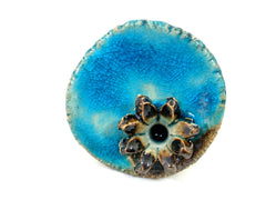 Aqua ceramic ring with golden brown flower - Ceramics By Orly  - 2