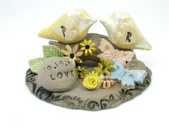 Personalized rustic wedding cake topper with your initials and your special date - Ceramics By Orly  - 4