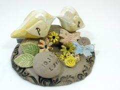 Personalized rustic wedding cake topper with your initials and your special date - Ceramics By Orly  - 2