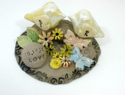 Personalized rustic wedding cake topper with your initials and your special date - Ceramics By Orly  - 1