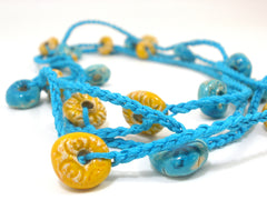 Crocheted ceramic beads bracelet or long necklace - Ceramics By Orly  - 3