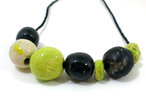 Black and green beaded ceramic jewelry