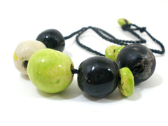 Black and green beaded ceramic jewelry - Ceramics By Orly  - 3